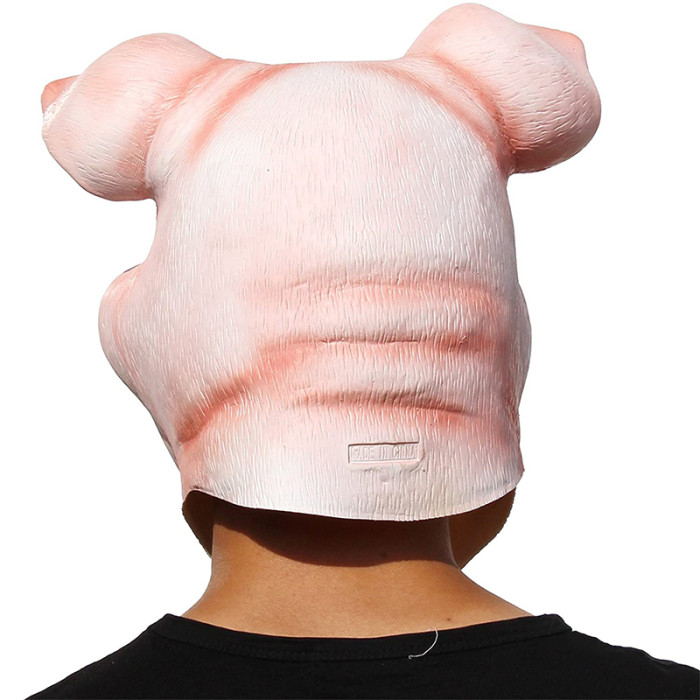 PartyCostume - Happy Pig Mask - Halloween Party Funny Cute Latex Animal Head Mask