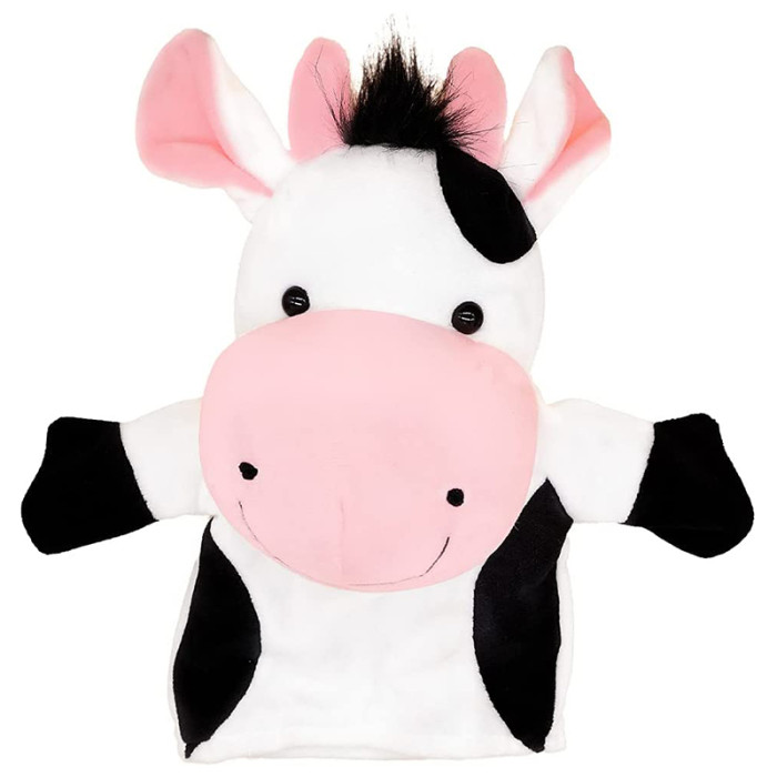 CreepyParty Hand Puppet Cow Farm Animal Plush Puppet for Kids Soft Toy