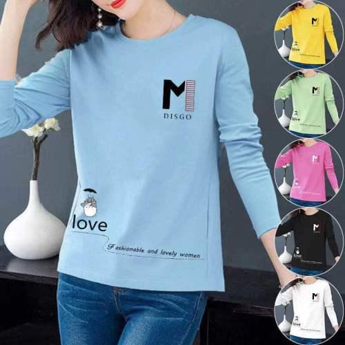 Women's wear 2021 Spring Autumn Good quality Women T-Shirt Long Sleeve Korean Style Slim Basic Cotton Tshirt Top Womens Clothing
