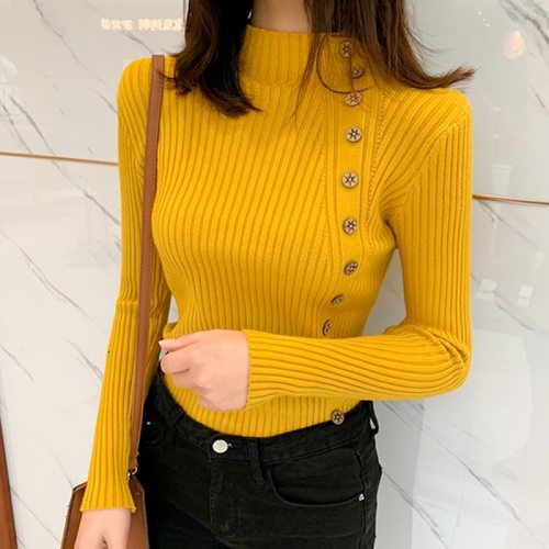 Women Knitted Winter Pullovers 2020 Fashion Long Sleeve White Black Sweaters Turtleneck Korean Clothes Elegant Pink Ladies Tops
