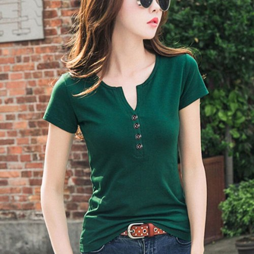 Women Sexy V neck T Shirt Short Long Sleeve Tshirt Femininant 2021 Summer Spring Casual Lady Tops Tee Female Clothing Button G82