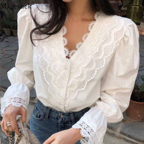 Fashion Lace Stitching V-neck Button Up Long Puff Sleeve Blouse Women Sweet Hollow Out Flared Cuffs Women Clothing 2021 12625