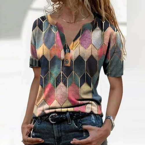 Short Sleeve T-Shirt Women Summer Tops Female t Shirt V-Neck Office Patchwork Woman Clothing Casual Soft Cozy Button Ladies Tops