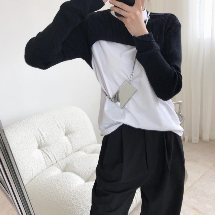DEAT 2021 new summer fashion women clothes round neck full sleeves short styles full sleeves knits top WN30000
