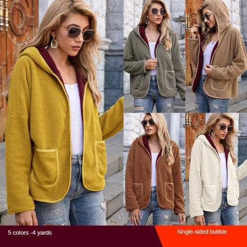2020 autumn and winter bubble cotton casual hooded plush top color matching jacket plus size women's clothings clothing