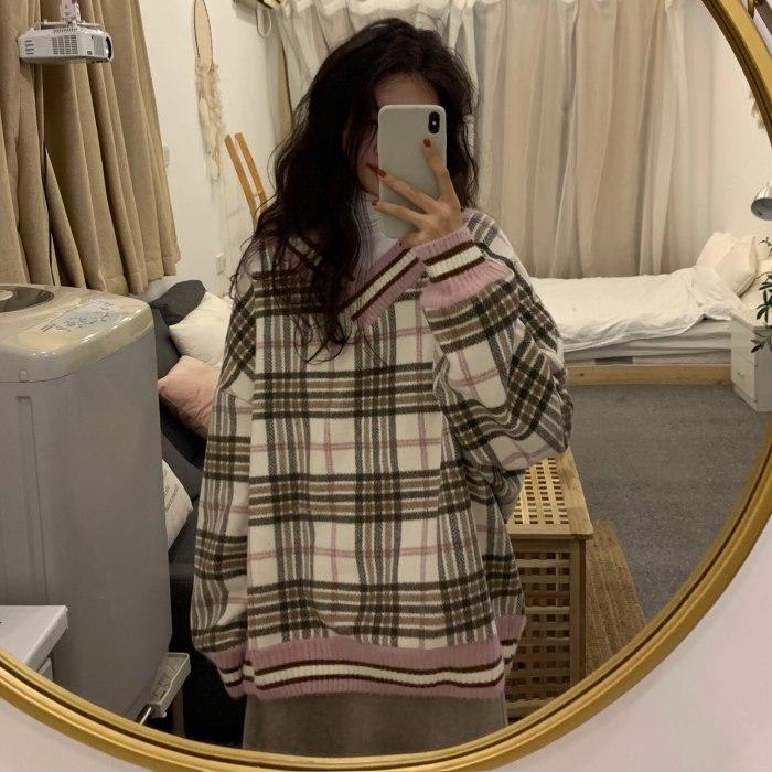 Oversized Hoodie Plaid Pullovers V-Neck Long Sleeve Top Women Loose Korean Fashion Clothing Harajuku Sweatshirt Women Clothing
