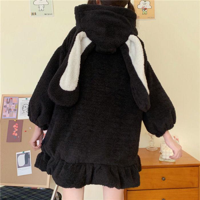 Harajuku Kawaii Rabbit Ear Sweatshirt Hoodie Women Streetwear Winter Plus Size Women Loose Hoodie Cute Japan Harajuku Clothes