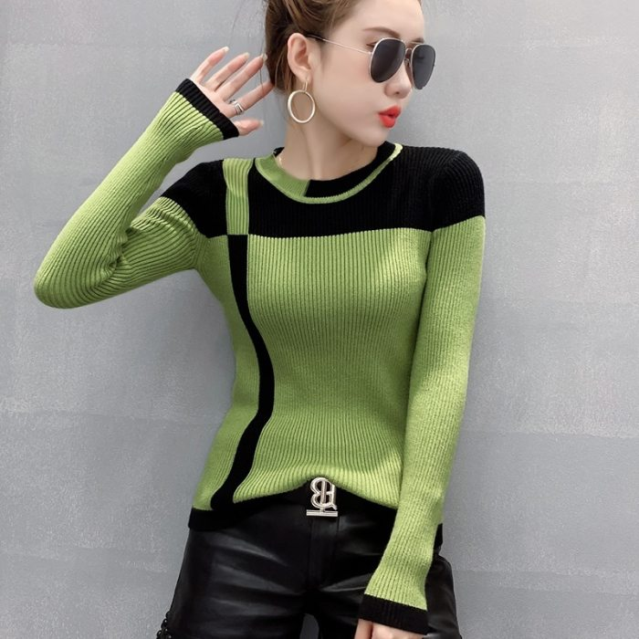 Fall Winter Korean Clothes Knitted Sweater Fashion Sexy O-Neck Contrast Color Patchwork Women All Match Pull Femme Tops T09106L