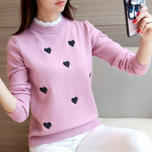 Peonfly Women Turtleneck Sweater Solid Color Embroidery Cartoon Panda Bear Cute Streetwear Pullovers Knitted Female Clothes Tops