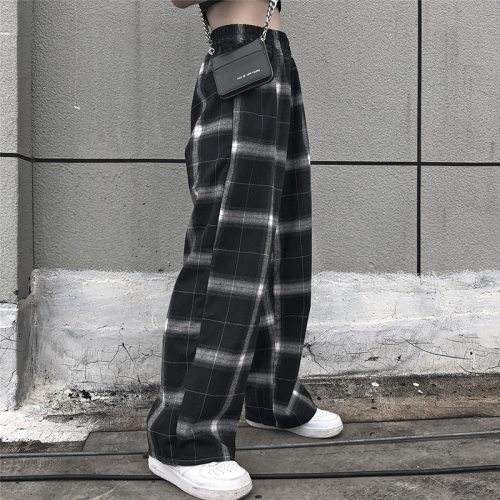 elastic waist plaid pants women high waist  wide leg Pants Casual female korean  jogger punk trousers women clothes gothic