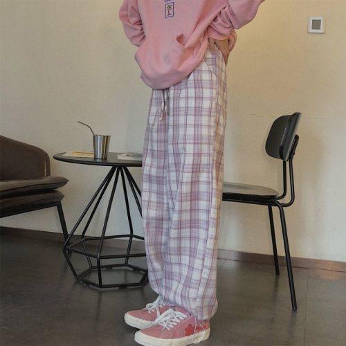 Vintage Pink Plaid Pants Elastic Waist Plus Size Clothing for Women Casual  Loose Wide Leg Pants Pockets Harajuku Korean Clothes
