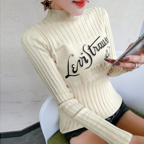 Korean Fashion Print Letter Pullover Sweater 2019 Autumn Winter Clothes Women Top Knitted Sueter Mujer Bottoming shirt M97606