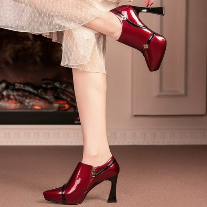 2020 Autumn Wedding Shoes Woman High Heels Women's Pumps Patent Leather Shoe Thick Heel Fashion Pointed toe Deep Wine-red Beige