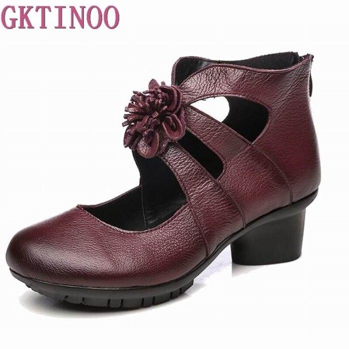 GKTINOO Vintage Summer Women's Shoes Genuine Leather High Heel Shoes 2021 Autumn Fashion Shoes Non-Slip Soft Bottom Women Pumps