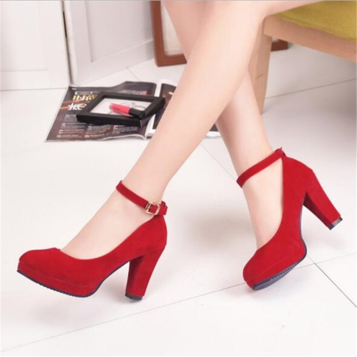 Women's Fashion Pumps Sweet Woman Thick High Heels Ankle Strap Flock Female Platform Mary Jane Women Shoes Ladies Footwear