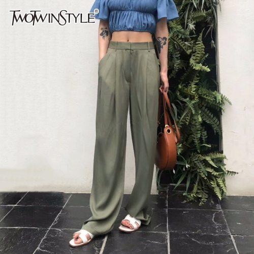 TWOTWNSTYLE Maxi Pants For Women High Waist Zipper Pocket Summer Big Large Size Long Trousers 2020 Fashion Elegant Clothing