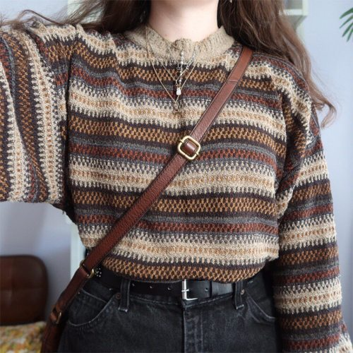 High Street Women Sweater Striped Contrasting Color Sweaters Vintage O-Neck Long Sleeve Knitwear Pullovers Women Clothes