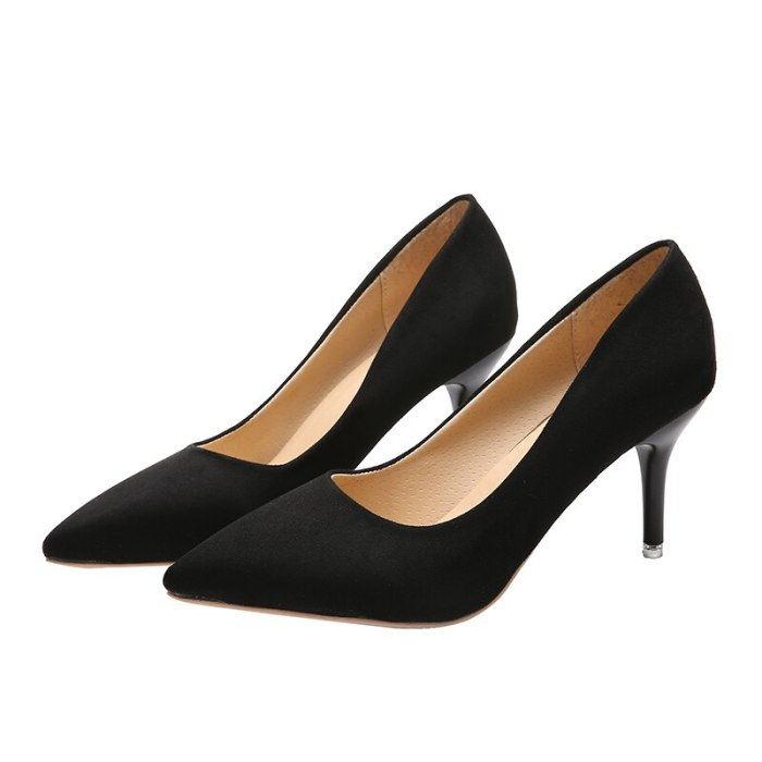 Fine With Single Shoes Black Elegant High Heels Plus Size Work Shoes Sexy Fashion Women's Shoes Career Office Shoes Pumps 43,44