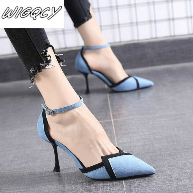 2020 early spring new color matching fashion sandals women Korean version of pointed high-heeled buckle women's singles shoes