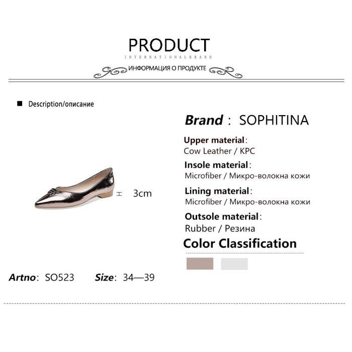 SOPHITINA Shoes Women Fashion Casual Elegant Handmade Women Pumps Pointed Toe Low Heel Leisure Concise Dress Women's Pumps SO523