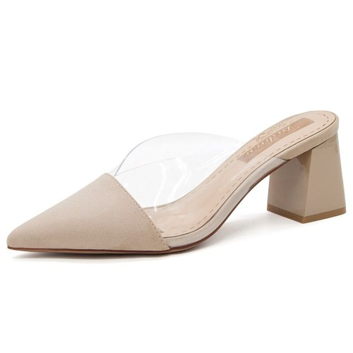 Woman Heels Slippers Pointed Toe Sandals High Heel Women's Shoes Summer New Transparent Outdoor Thick Heel Fashion Black Shoes
