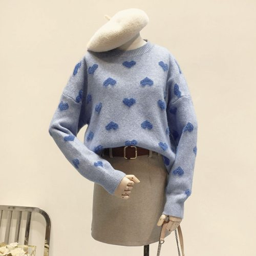 2020 Women Warm Long Sleeve Sueter Imitation Water Velet Print Winter Clothes Pink O Neck Loose Pullover Heart Pattern Sweater