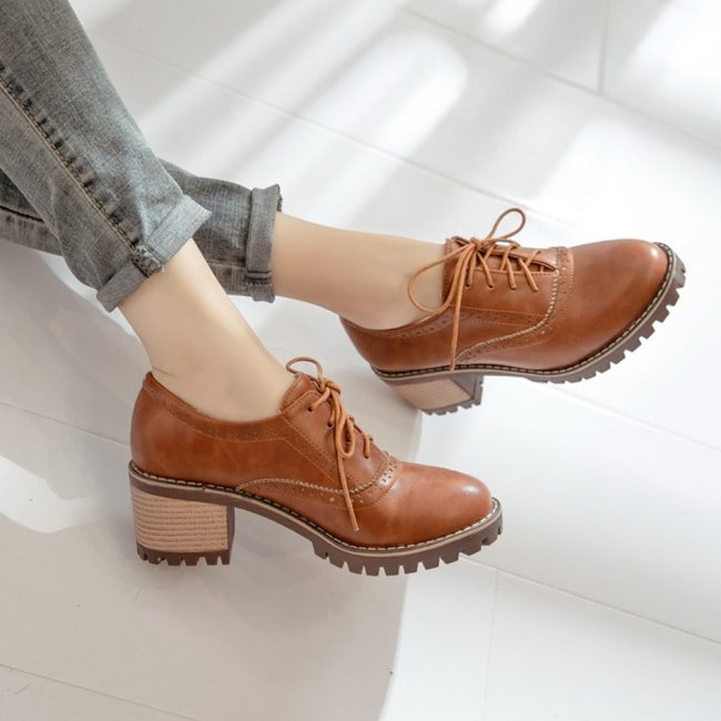 SARAIRIS 2020 Large Size 43 Brogue Shoes Chunky Heels British Style Fashion Women Shoes Woman Classic Shoelace Female Pumps