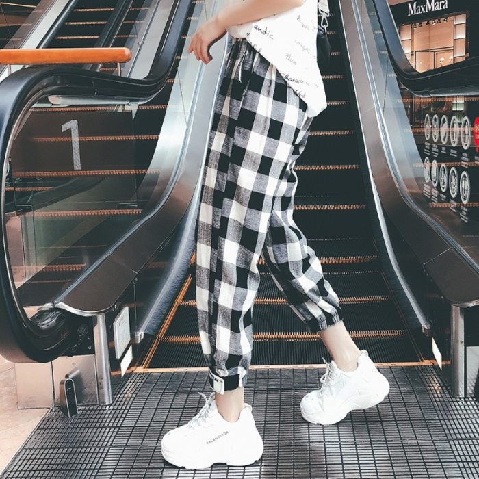 Women autumn casual pants clothes loose drawstring pants clothing fashion black white check harem pants