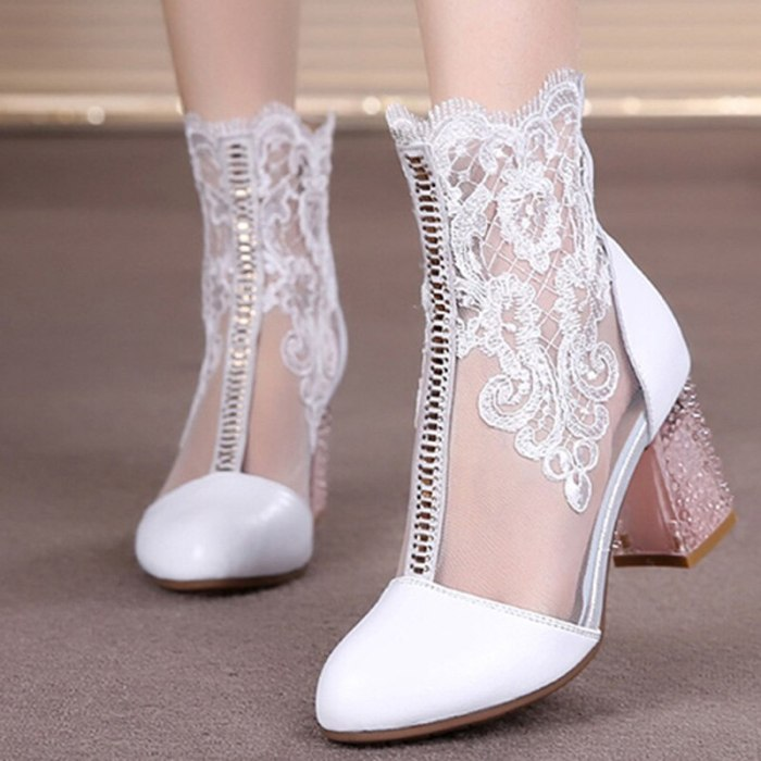 Women's Spring Shoes Ladies Lace Genuine Leather Fashion Boots Female High Heels Round Toe Mid Calf Women Boots Shoes Plus Size