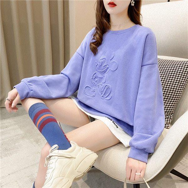 2020 O-neck Women Hoodies Disney Mickey Mouse Tops Sweatshirts Kawaii Fashion Fake Two Piece Female Hoodies Clothes Lady Hoodies