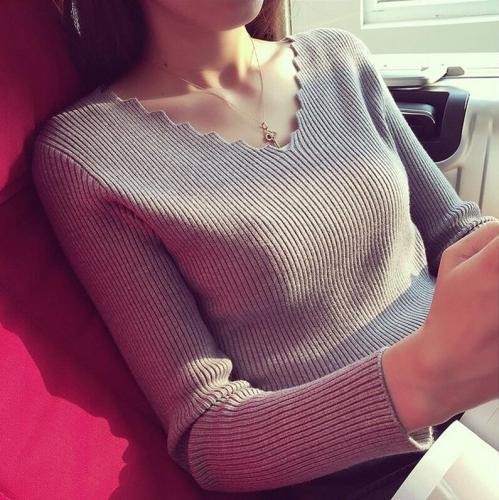 Autumn Solid Basic Pull Elasticity Women Clothing Fashion Women V-neck Long-sleeve Knit Sweater Female Jumper Pullover 7113 50
