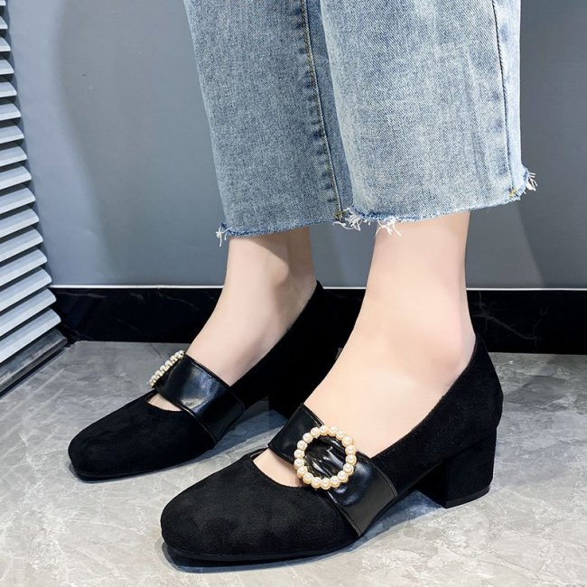 Rimocy Fashion Pearl Buckle Pumps Women 2021 Comfortable Flock Chunky Heels Shoes Woman Slip on Elegant Office Shoes Ladies