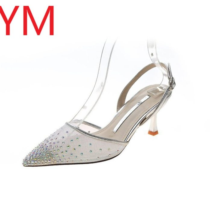 2020 Women's Pumps Crystal New Fashion Summer Shoes Net Pointed toe High Heel Shoe Ladies Wedding Party Shopping Pumps 34-39