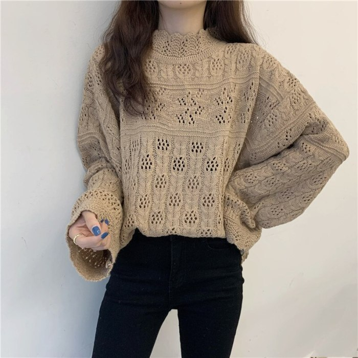 Mozuleva Vintage Sweaters Women Half Turtleneck Loose Hollow Out Pullovers Woman Clothes 2020 Knitted Sueter Mujer Jumper