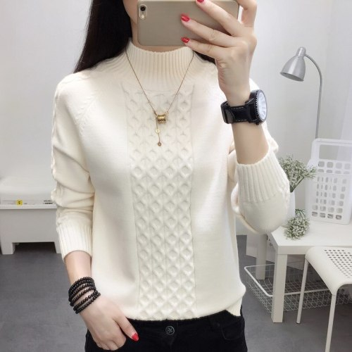 Half Turtleneck Sweater Women Jumper 2020 Autum Winter Basic Warm Clothes Female Pull Femme Knitted Cotton Pullover Sweater