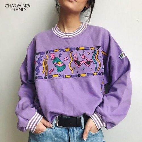 Women Hoodies Purple 2020 Autumn Round Neck Young Girls Female Printed Clothes Loose Cute Women Pullover Sweatershirts Oversize