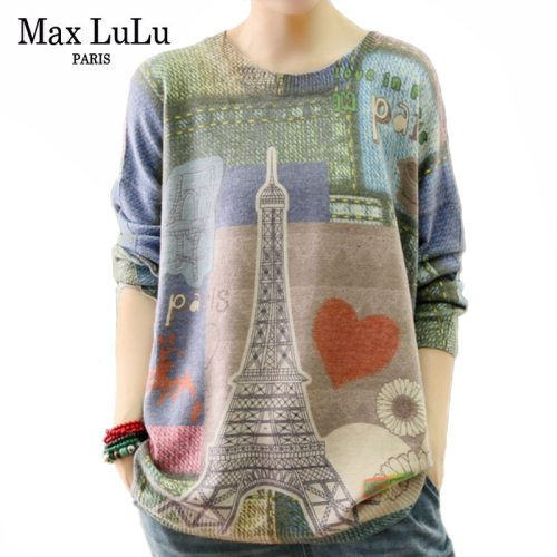 Max LuLu Winter Fashion Korean Style Ladies Knitted Clothes Women Loose Printed Long Sleeve Sweaters Cotton Pullover Warm Jumper