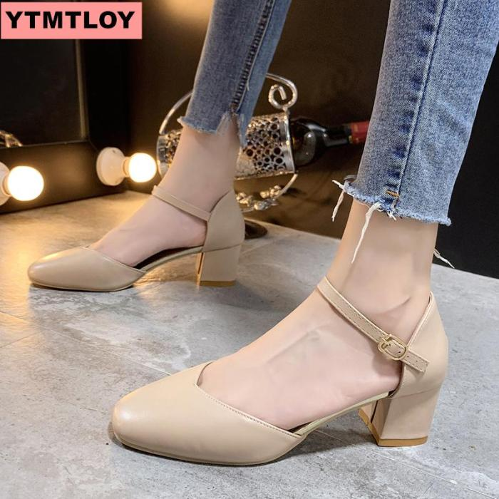 2019 fashion exquisite sweet with sandals pointed women's shoes shallow mouth word buckle single shoes 5.5cm thin dress