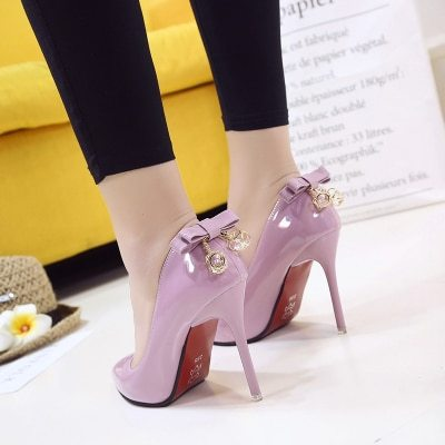 2021 Spring And Autumn New Women's Single Shoes Korean Fashion Pointed High Heels Wild Shallow Mouth Bow Women's Shoes