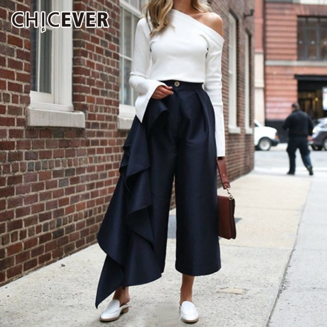 CHICEVER Ruffles Patchwork Pants For Women High Waist Large Size Wide Leg Trousers Female 2020 Autumn Fashion New Clothing
