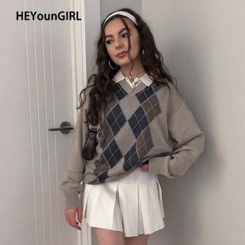 HEYounGIRL Preppy Style Vintage V Neck Sweater Women Autumn Casual Argyle Plaid Y2K Jumper Female Korean Fashion Pullover Winter