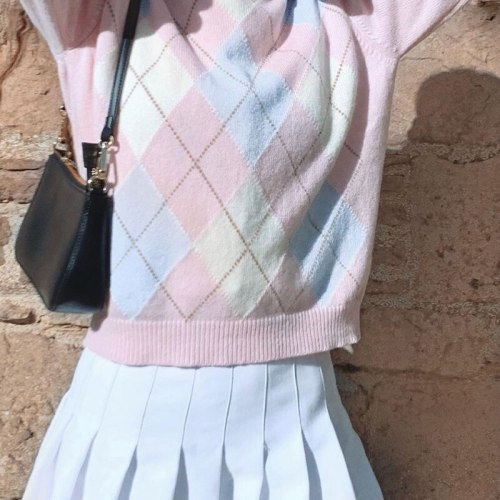 Argyle Geometric y2k Aesthetic Pink Knitted Sweater Women 2020 Autumn Preppy Style Plaid O-Neck Long Sleeve Pullover Tops Jumper