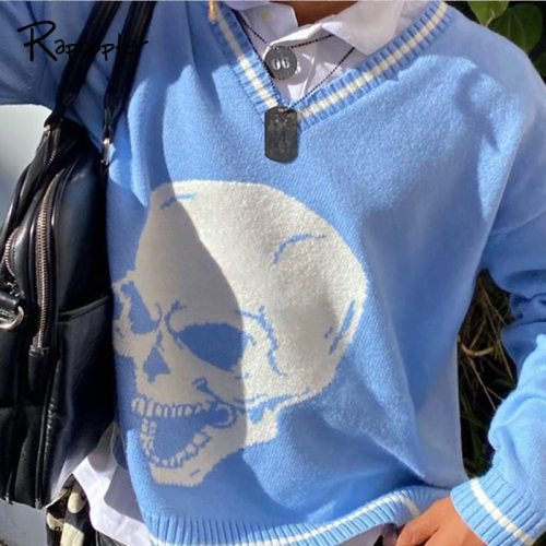 Rapcopter Y2K Sweaters Skulls Pullovers V Neck Knitwear Loose Casual Knitted Tops Women Streetwear Retro Tops Blue 2020 Autumn