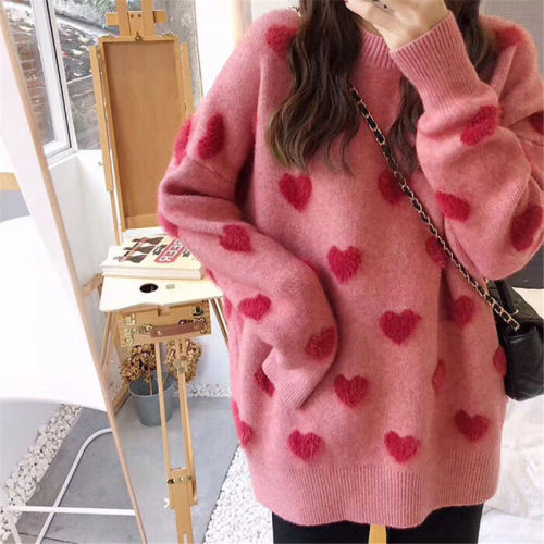 Sweater women's loose jacket fall winter love pullover long sleeve lazy style net red fashion retro knit top 2020 New hot sale