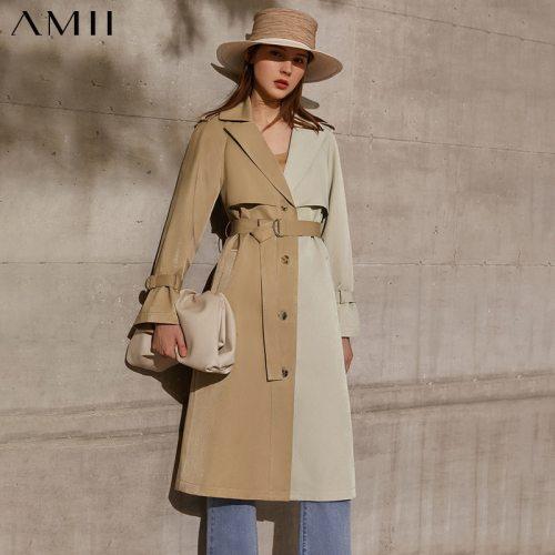 Amii Minimalism Spring Autumn Women's Trench Coat Causal Lapel Patchwork Single Breasted Women's Windbreaker  12170025