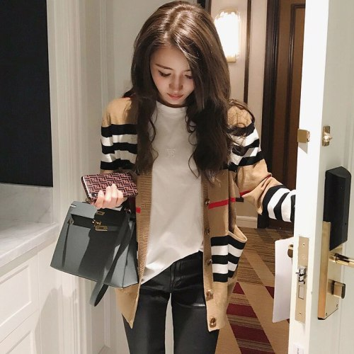 Knitted cardigan coat women's spring 2020 new Korean loose and versatile sweater women's long sleeve sweater thin