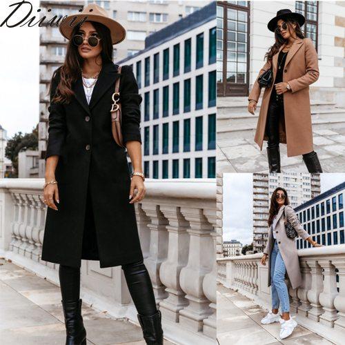 Diiwii Women Long Woolen Coat Female Warm Windproof Elegant Office Robe Blended Wool Outdoor  Blends