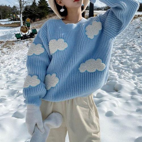 Women's Cozy Clouds Sweater Cute Cartoon Long Sleeve Crew Neck Pullover Jumper Fall Winter Knit Tops /