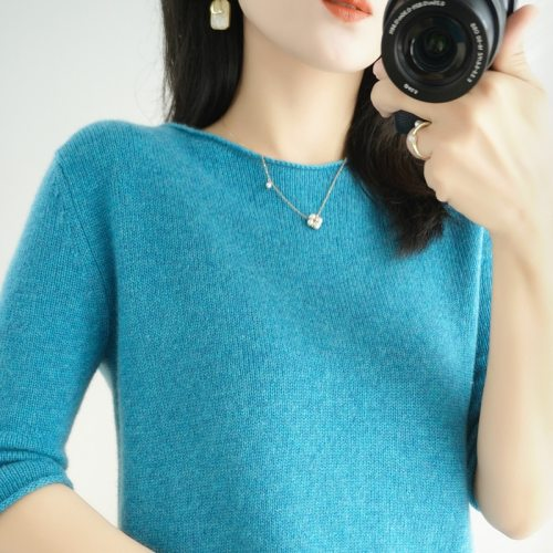 women's sweater short sleeves solid curling o-neck knitted top short stylish casual pullover jumper elastic jacket sweater