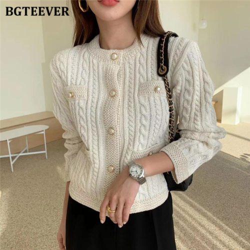 BGTEEVER Elegant Women O-neck Knitted Cardigans Single-breasted Slim Twisted Sweater Female 2020 Autumn O-neck Outwear Tops